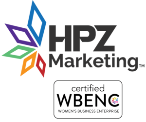 Logos for HPZ Marketing and certified Women's Business Enterprise